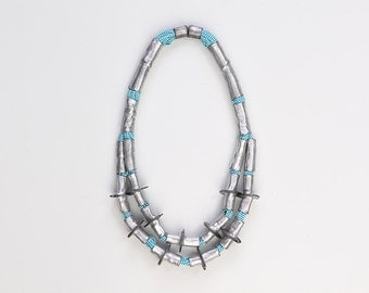 Tribal necklace, african jewelry, textile necklace, boho chic jewelry, turquoise metallic necklace, fiber jewelry