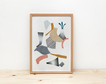 Volcano art print, illustration by depeapa, geometric volcano, abstract wall art, A4 poster, modern art, wall decor, home decor