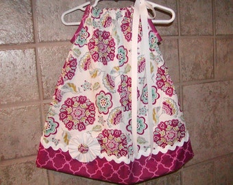 Girls Dress  Pillowcase style..Retro Flowers N Latice....Infant toddler Custom. sizes 0-6, 6-12, 12-18, 18-24 months, 2T, 3T
