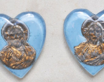 TWO Vintage Heart Shaped Jesus Cameos, Glass, 18mm X 20mm