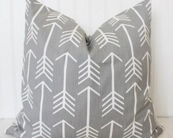 Arrow Pillow, Gray Arrow Pillow, Decorative Throw Pillow, Accent Pillow, Playroom Cushions, Cushion Covers, Grey Arrow Pillow