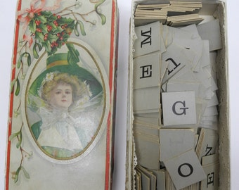Antique Holiday Box Filled with old Game Letters - Great for Crafts