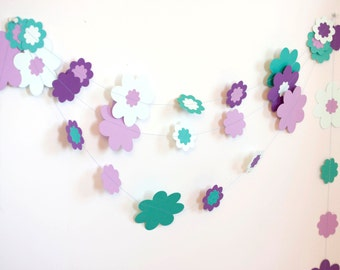 flower floral garland in lavender purple teal light mint wedding birthday party baby shower