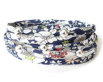 Wrap bracelet with Liberty fabric, cute blue & white florals with flecks of color, 5x sterling silver beads, pretty gift for best friend