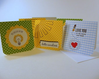 Lunch box notes, set of 3, with envelopes, mini note cards, unisex mini notes, kids mini notes, love notes, handstamped note cards
