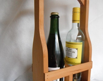 Wine Caddy Western Red Cedar Two Bottle Handmade Wine Carrier Server Display Gift Natural Wood Finish