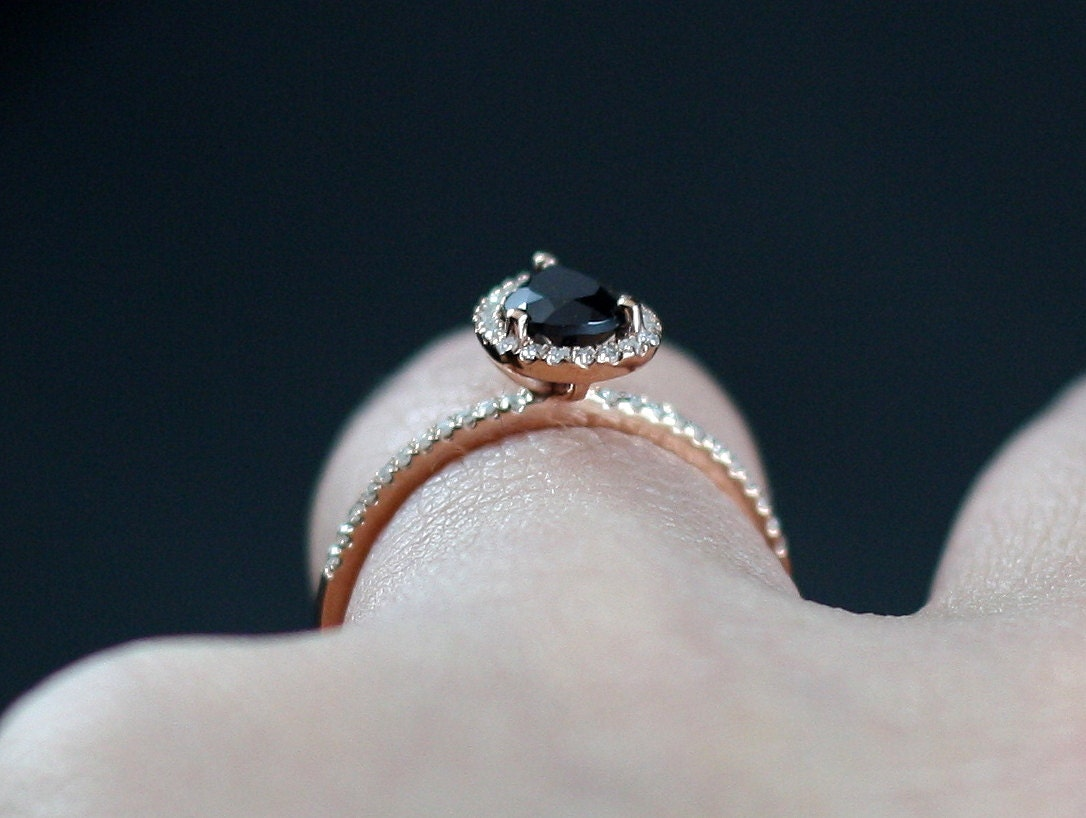Black Spinel Engagement Ring & Diamond Pear by BellAmoreDesign