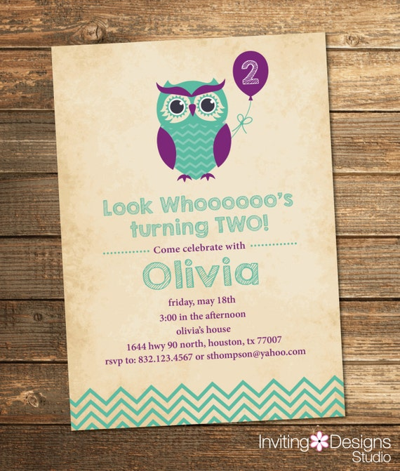 Owl birthday invitation second birthday first birthday for Etsy owl wedding invitations