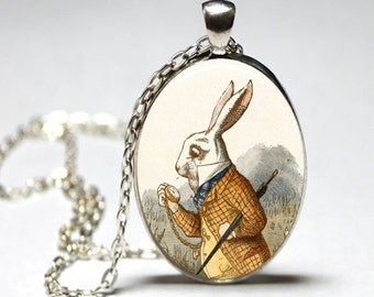 Oval Alice In Wonderland white rabbit pendant necklace (silver or bronze) (bunny, rabbit, mad hatter, cheshire cat, clock, watch, late)