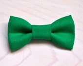 Green linen Newborn Infant Toddler Youth bowties - kelly green bow tie ring bearer birthday photo prop father son sibling set groom