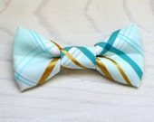 SALE Mint gold plaid Bowtie for Newborn Toddler Youth - Mint aqua plaid bow tie ring bearer birthday photo prop father son sibling groom