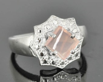 Rose quartz ring, sterling silver ring. rose cut, pink ring, love, gemstone ring, one of a kind