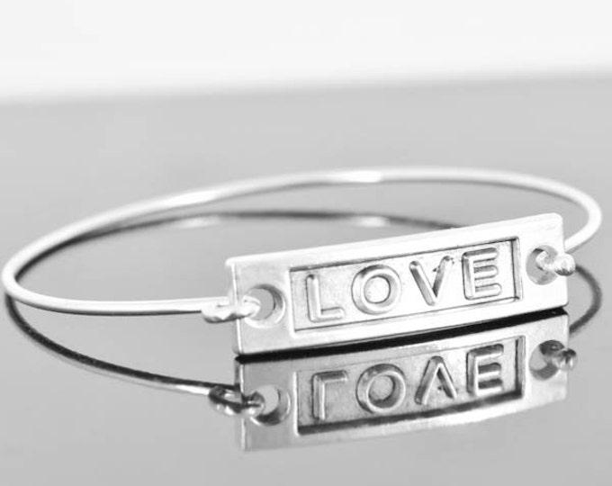 Love Bangle, Sterling Silver Bangle, Love Bracelet, Stackable Bangle, Charm Bangle, Bridesmaid Bangle, Bridesmaid jewelry, Bridal Bracelet