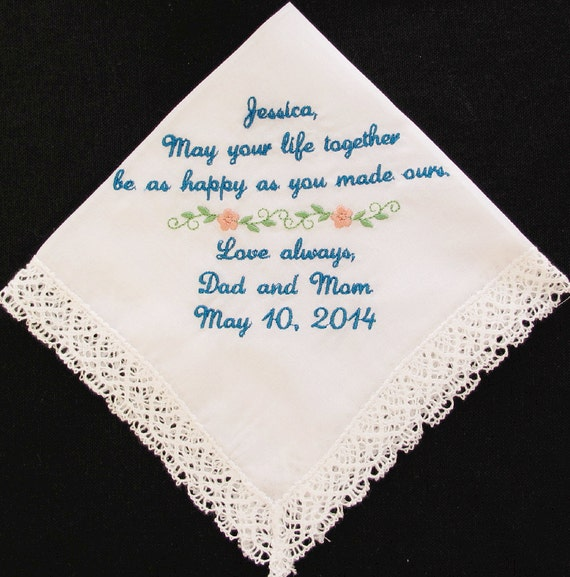 Embroidered Wedding Handkerchief from the Mother of the Bride and Father of the Bride to the Bride