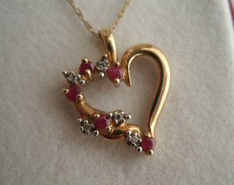 Vintage 10K Gold Heart Necklace - Ruby and Diamond Open Heart Necklace on Delicate 10k Gold Chain - Sweetheart Gift in Velveteen Box