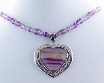 Fluorite Amethyst Heart Natural Stone Pendant Necklace