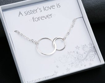 Sterling silver Double eternity bracelet,Best friends Bracelet,Karma Bracelet,Halo Bracelet,sister,Bridesmaid Gifts
