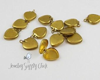 Heart locket raw brass (x20)