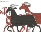 Original drawing GOATS // small original sketches by Elisaveta Sivas // 3,9 x 7,5'