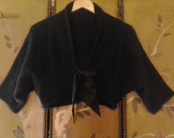 90s Angora rabbit hair black shrug with ribbon tie