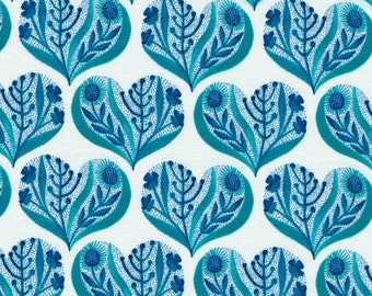 Cloud9 Organic Fabrics - Alegria - Hearts in Blue 1/2 YD