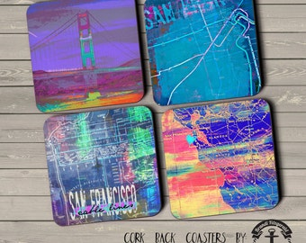 San Francisco Coaster Set: Landmarks Neon Typography Golden Gate Bridge Rail Lines Cork Back Home Accessories