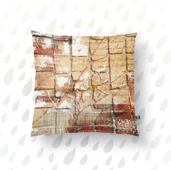Brick Throw Pillow Rust Orange Rugged Texture Industrial Style
