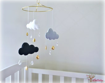 Rain cloud mobile - Crystal mobile/ sun catcher with crystal rain drops - gold and grey - MADE TO ORDER