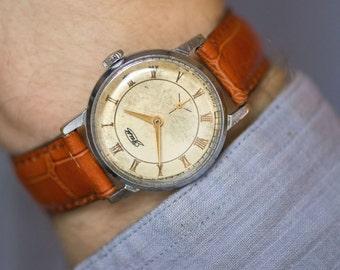 Men's wristwatch ZIM, silver beige shades gents watch, minimalist shabby watch, genuine leather strap new