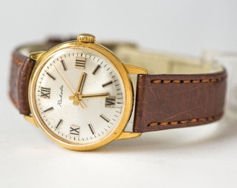 Gold plated men's wrist watch, Raketa watch AU 20 gold plated, round retro men watch, chocolate shade leather strap new
