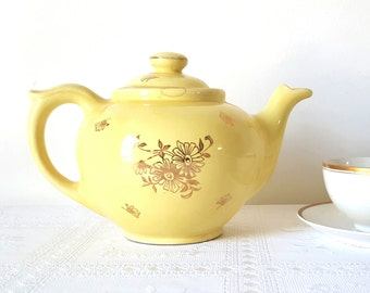 Vintage  Pearl China Tea Coffee Pot Sunshine Yellow with Gold Floral Design Large Yellow Gold China Tea Brewer Tea Maker Pearl China