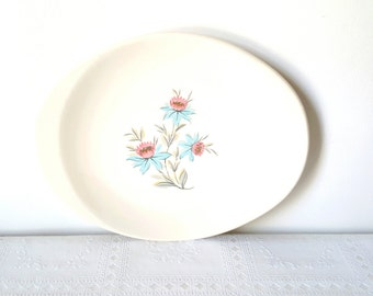 On Sale Vintage Stubenville Platter Plate Oval Platter Floral Pattern Gift for her Vintage Serving Platter Pink Blue Flowers