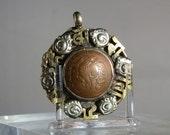 Vintage Pendant Bhutanese Coin Pendant Mixed Metals Handmade Artisan Piece Folk Art DanPickedMinerals