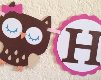 Owl Happy Birthday Banner - owl banner, owl party, owl decorations, custom owl, owl birthday