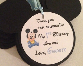 Mickey mouse favor tags, baby mickey mouse tags