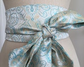 Obi belt pale blue, pastel paisley obi sash, asian brocade satin obi belt sash, wedding something blue sash