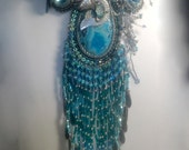 Islmaradra Angler Necklace One of a Kind Art Piece Made one bead at a time, bead embroidery, with Antique brouch