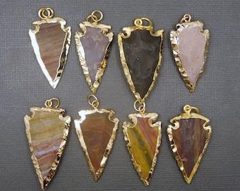 Arrowhead pendant etsy jasper arrowhead pendant with 24k gold electroplated edge made in india bulk lots 1 aloadofball Image collections