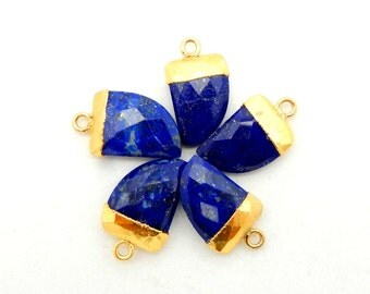 Petite Lapis Lazuli Horn Pendant with 24k Gold Electroplated Cap and Bail (S74B9-05)