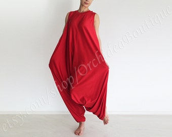 PLAMA Beach Maxi Boho Wide Leg Jumpsuit red yoga lounge drop-crotch oversized plus size baggy maternity overall summer party  handmade