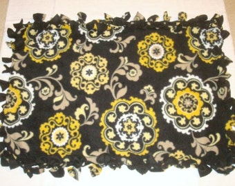 Fleece Tie Pet Blanket for Cats or Small Dogs - Black with Gold and Tan Floral