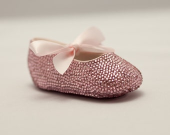 Pink Baby Rhinestone Shoes covered with Swarovski Crystal leather shoe