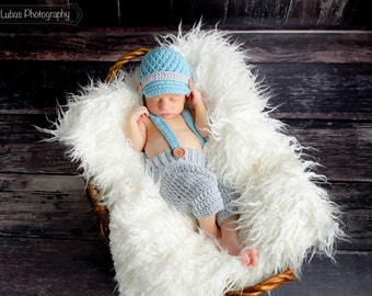 Baby Crochet Newsboy Hat, Crochet Pants, Suspenders, Newborn Crochet Hat, Newsboy Hat, Photo Prop