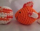 Crochet Cat Toy Set (Orange goldfish)