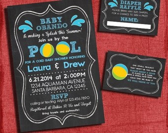 Printable Pool Party Baby Boy Shower Invitation Set -Invite + Diaper Raffle Ticket + Book Request  - Chalkboard Style - I design you print