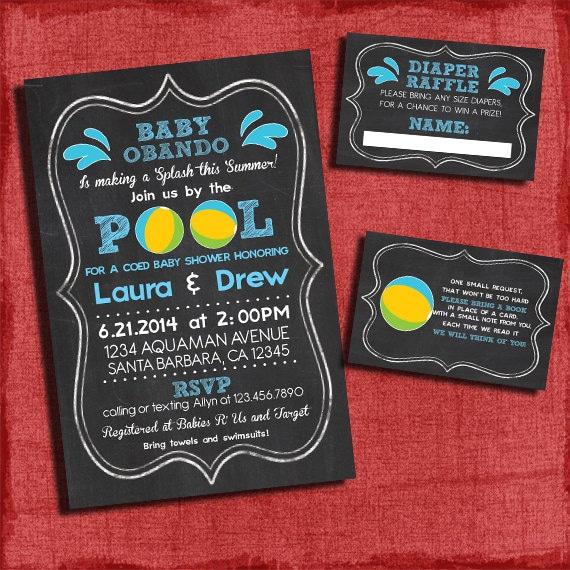 Printable pool party baby boy shower invitation set invite diaper il570xn filmwisefo