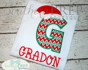 SANTA Hat - Monogram Shirt - Christmas Shirt - Girl or Boy's Shirt - Custom Letters available