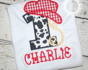 Birthday Cowboy Number Applique Shirt - Cowboy Theme Birthday Party - Western Themed Birthday shirt - Cowboy Applique Design