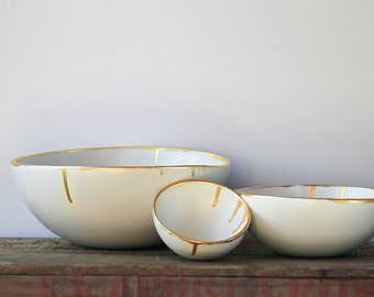 White and gold bowls set, handmade, handpanted gold lustre rim, home decor set.