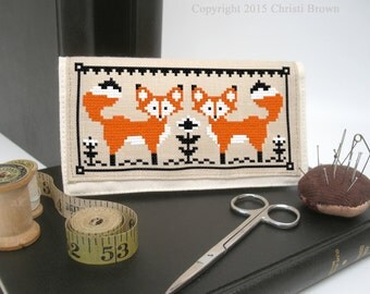 Fox Cross Stitch Pattern Super Easy Checkbook Cover Project Instant Download PDF